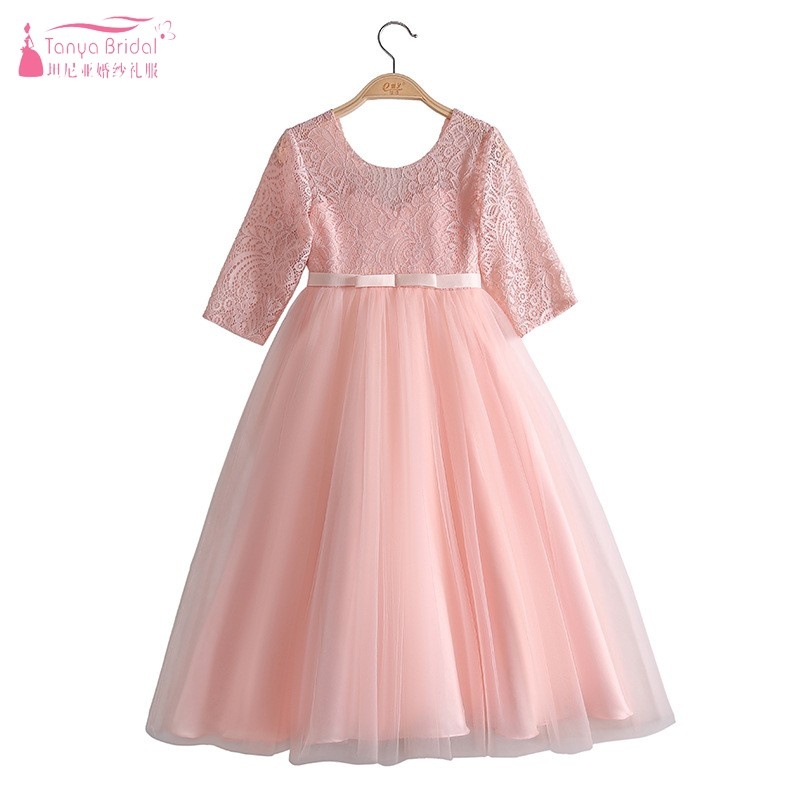 Full Length Sleeves Lace Tulle   flower     Girl     Dresses   Pink White Green Navy Long A Line Wedding Party   Dress   For Kids Gown JQ77