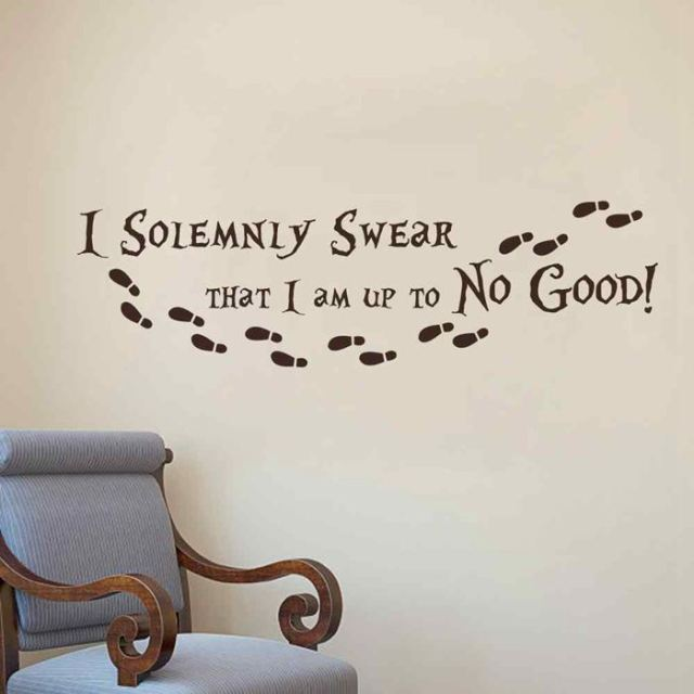 BATTOO Harry Potter Wall Decal Quote I Solemnly Swear Hogwarts Wall Decals Vinyl Stickers Nursery Kids : harry potter quote wall decals - www.pureclipart.com