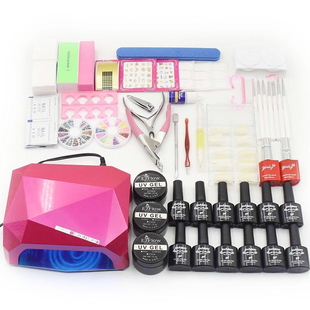 NAIL DIY Full nail Set 36W <font><b>UV</b></font> LED lamp 12 color <font><b>UV</b></font> gel polish varnish base top <font><b>coat</b></font> <font><b>uv</b></font> builder gel nail art tools manicure kit