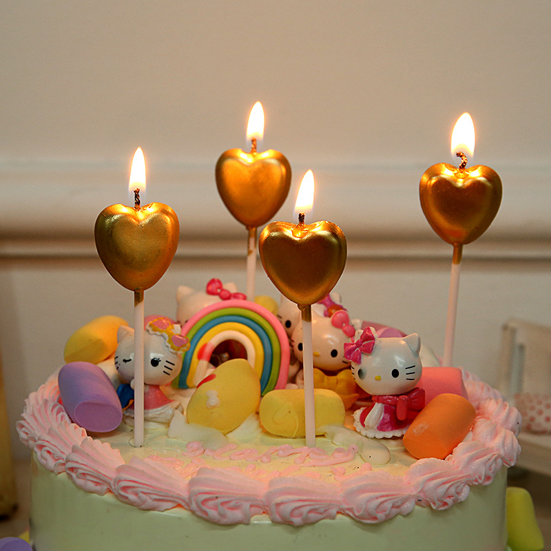 US $1.87 30% OFF|Silver Gold Birthday Candle Children Kids Love Heart Safe  Flames Home Decor Favor Supplies Party Festival Cake heart Candles-in Cake  ...