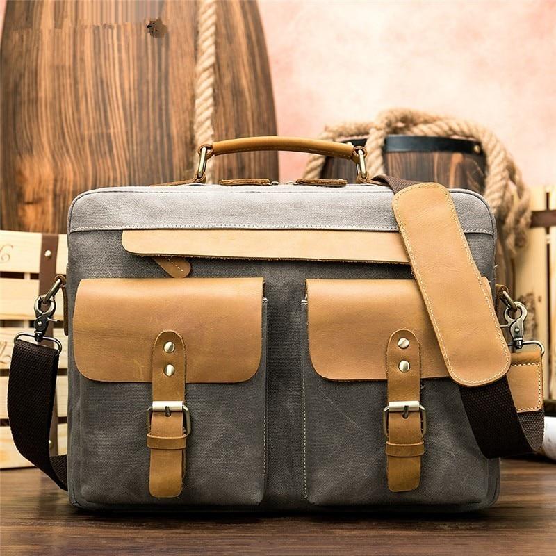 2019 hommes sac grand décontracté ordinateurs portables d'entreprise poche toile mallette en cuir valise de voyage Messenger épaule fourre-tout sac à main