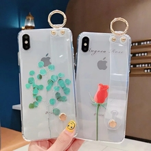 IMIDO Transparent Wrist Strap TPU Phone Cases For iphone 6/7/8/X Flower Pattern Holder Anti-fall Lanyard Loop Stand