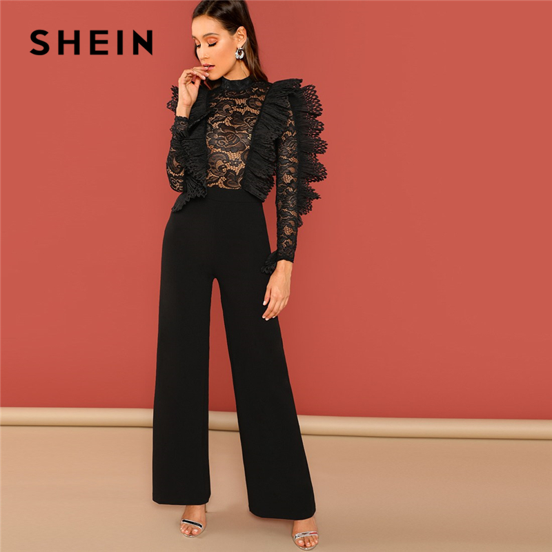 SHEIN Black Ruffle Trim Sheer Lace Bodice Palazzo   Jumpsuit   Elegant High Waist Skinny Plain   Jumpsuit   Autumn Women Party   Jumpsuits