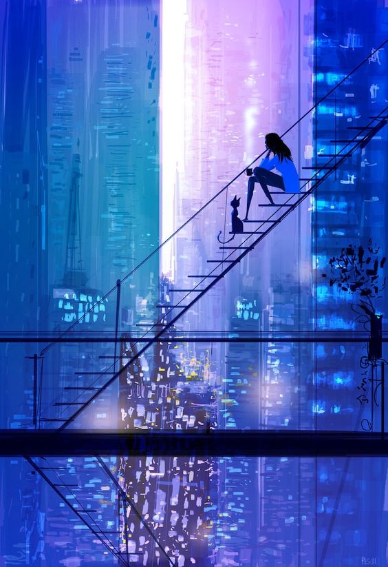 Hand Painted Modern Abstract Fine Art the Girl and Pet Cat Sit at Ladder See Beautiful City Night View Oil Painting on Canvas