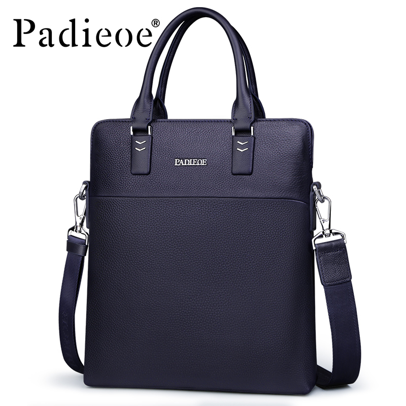 Padieoe Men's Genuine Cow Leather Messenger Bag High Quality Crossbody Bag Luxury Brand Handbag Male Travel Bags Free Shipping padieoe famous brand shoulder bag genuine cow leather crossbody bag classic designer messenger bag high quality male bags