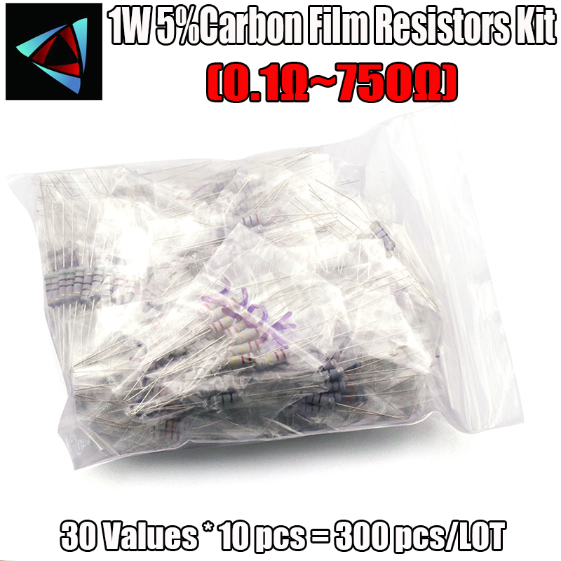 300pcs Resistor Kit 1W 5% 30values X 10pcs Carbon Film Resistance 0.1-750 Ohm Set 1Watt Resistance Assorted Assortment Pack