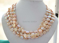 5strands 13mm NATURE Pink Square Coin Freshwater Pearl Necklace 19inch