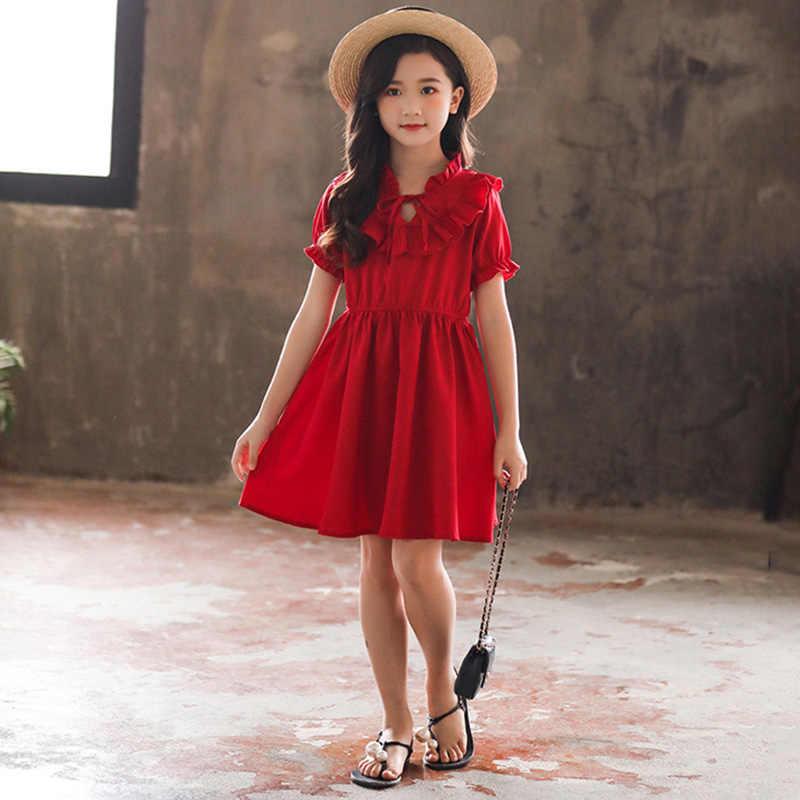 Meninas Vestido de Verão de Moda de Nova Bebê Meninas Mangas Curtas Vestido do Colar Da Folha de Lótus Vestido de Chiffon Princesa