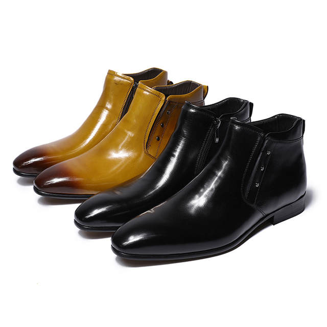 9f825c899be US $70.0 50% OFF FELIX CHU 2018 New Genuine Leather Men Ankle Boots High  Top Zip Dress Shoes Black Yellow Rubber Sole Male Footwear #36700 7-in  Basic ...