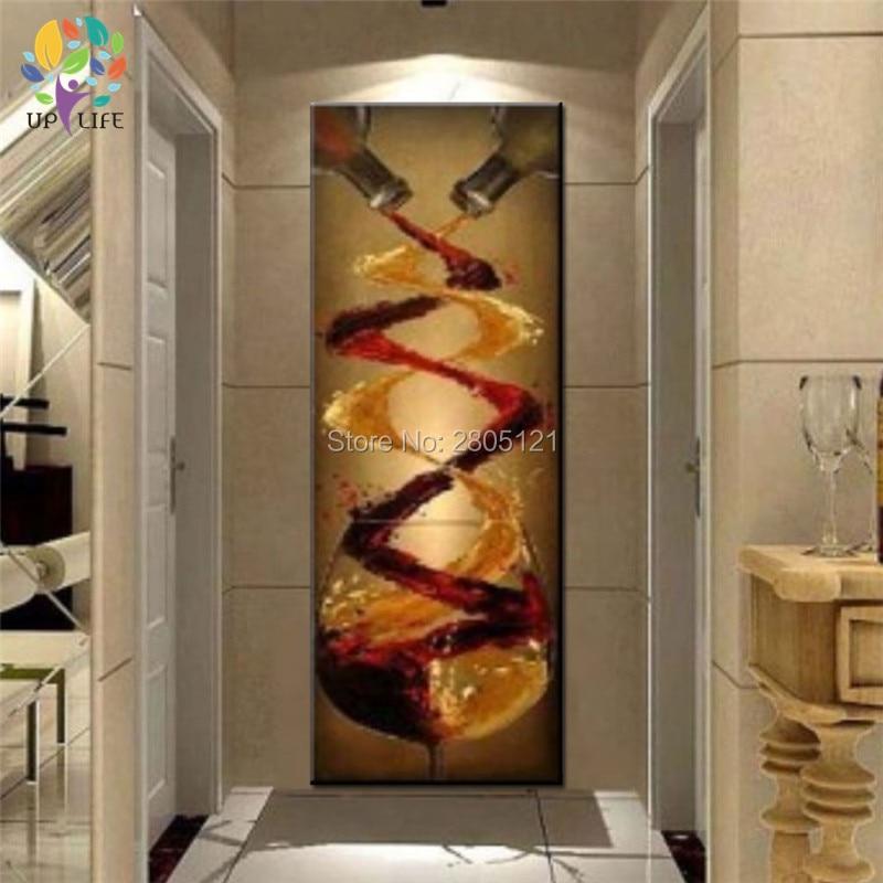 ручно дизајнирани кућни зидни декор платно слика велика дугачка вертикална берба платна умјетност вино слика уређење дома степенице начин