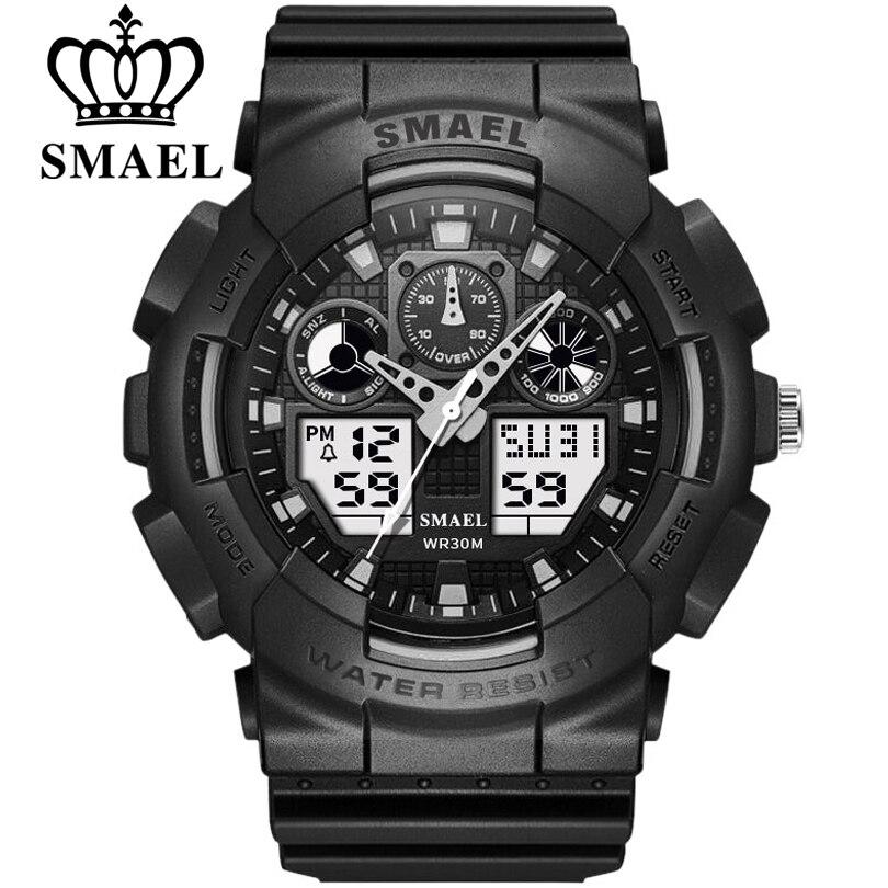 SMAEL Fashion Watch Men Waterproof LED Sport Military Watch Shock Resistant Mens Analog Quartz Digital Watches Relogio Masculino