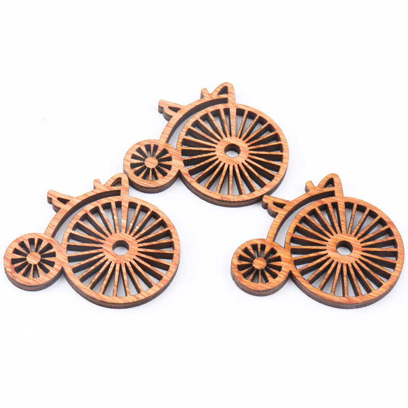 Brown Vintage Bicycle Wooden Pattern Scrapbooking Painting Craft For Handmade Accessory Home Decorate DIY 43X50mm 10pcs