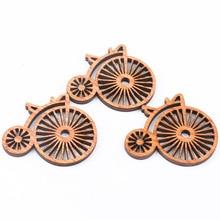 Marrón Vintage bicicleta patrón de madera pintura de álbum de recortes artesanía para accesorios hechos a mano hogar decorar DIY 43X50mm 10 Uds
