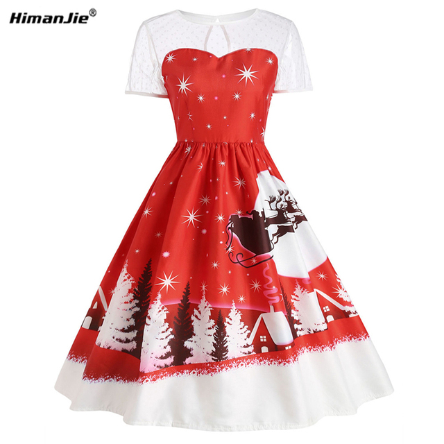 HimanJie Women fall 2017 vintage dress new large size women christmas snown printing mesh lace patchwork party in women dress