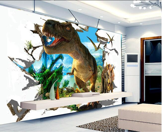 3d Wallpaper Custom Mural Non Woven Wall Stickers 3 D Jurassic Dinosaurs Background Painting Photo In Wallpapers From Home