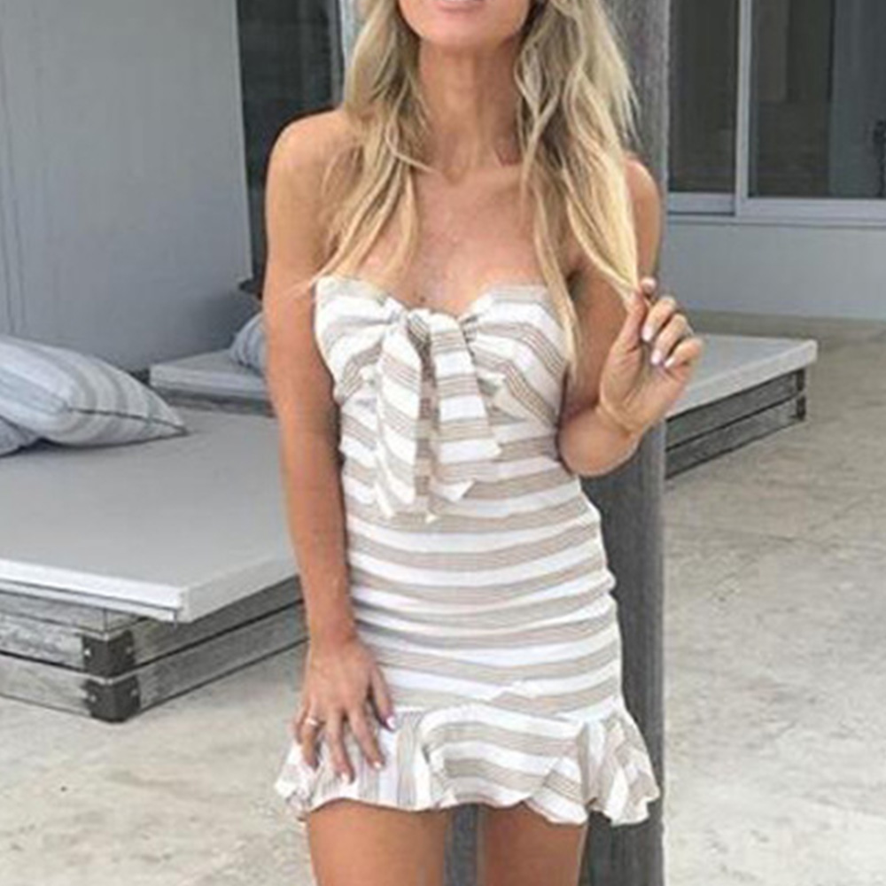 Summer dress New Women Sexy Strapless Striped Bodycon Short Mini Dress vestidos verano 2018