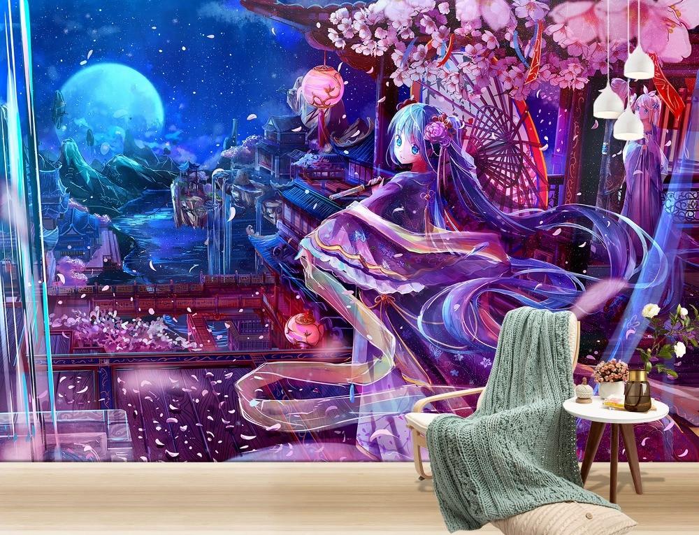 [Self-Adhesive] 3D Hatsune Miku Sleepwalking Wonderland 2 Japan Anime Wall Paper mural Wall Print Decal Wall Murals