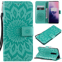 For Oneplus 7 Pro Cover UYFRATE PU Leather 3D Embossed Sunflowers Card Slots Wallet Case For Oneplus 7 Pro 7 OnePlus 6T 6 5T 5