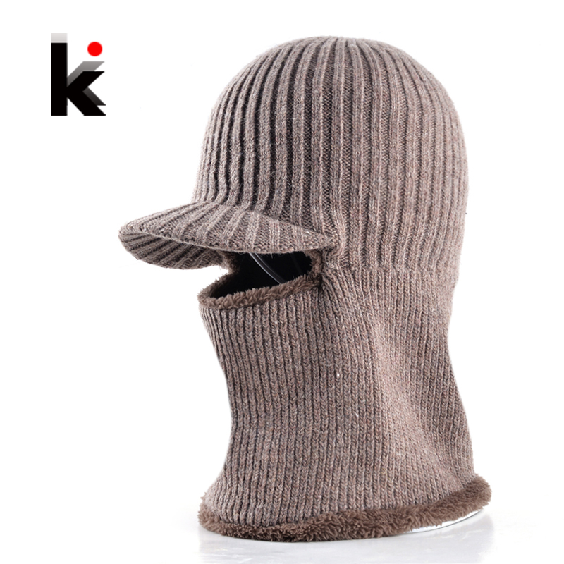 Dad hat winter skullies knitted wool baseball cap two kinds of wearing thicker bonnet beanies for men face mask motorcycle wool felt cowboy hat stetson black 50cm