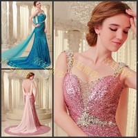 free shipping long dresses for party 2014 new maxi Debutante bride luxury crystal sequin shoulder vestidos formales prom dresses
