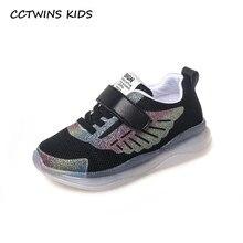 f3f0614326 CCTWINS CRIANÇAS 2019 Crianças de Moda Primavera Luz Led Sapato de Bebê  Menina Malha F2211 Breathale