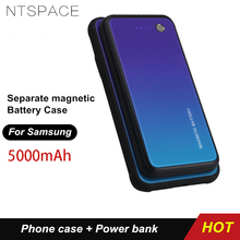 Ntspace 5000 7000mah ワイヤレス磁気バッテリー充電ケース三星銀河 S7 エッジ S8 プラス電池ケースポータブル電源銀行ケース