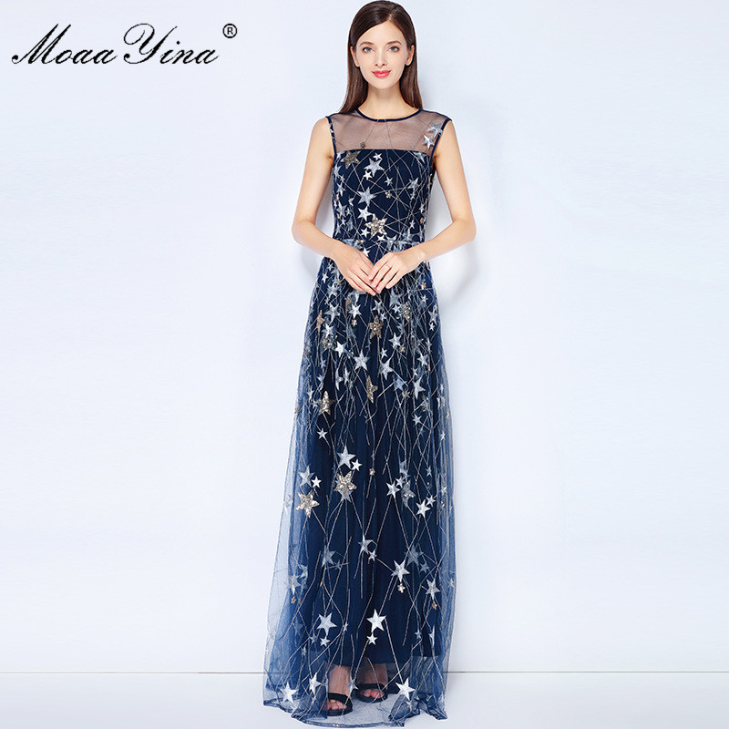 MoaaYina Fashion Designer Runway Dress Summer Women Sleeveless Mesh Embroidery Sequins Star Noble Elegant Parties Maxi Dress