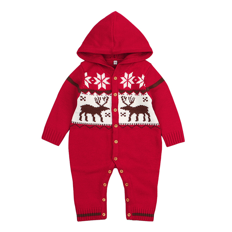 Baby Rompers Winter Climbing Clothes Newborn Boys Girls Warm Romper Knitted Long Sleeve Sweater Christmas Deer Hooded Outwear iyeal winter baby rompers thick baby clothes newborn boys girls warm romper knitted sweater christmas deer hooded outwear