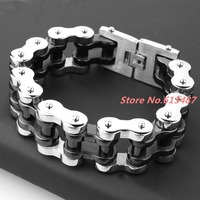 9 *22mm Huge Jewelry 316L Stainless Steel Silver Black Mens Biker Bicycle Motorcycle Chain Males Bracelets & Bangles Cool Gift