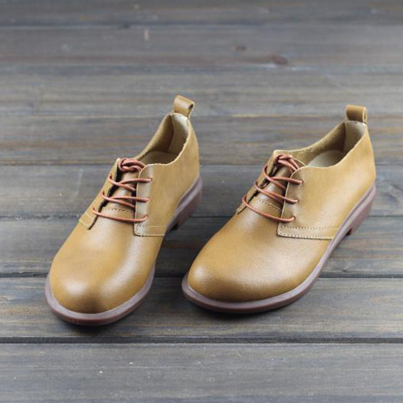 Women Shoes Flat 100 Genuine Leather Ladies Flat Shoes Lace up Women s Moccasins 2019 Comfortable