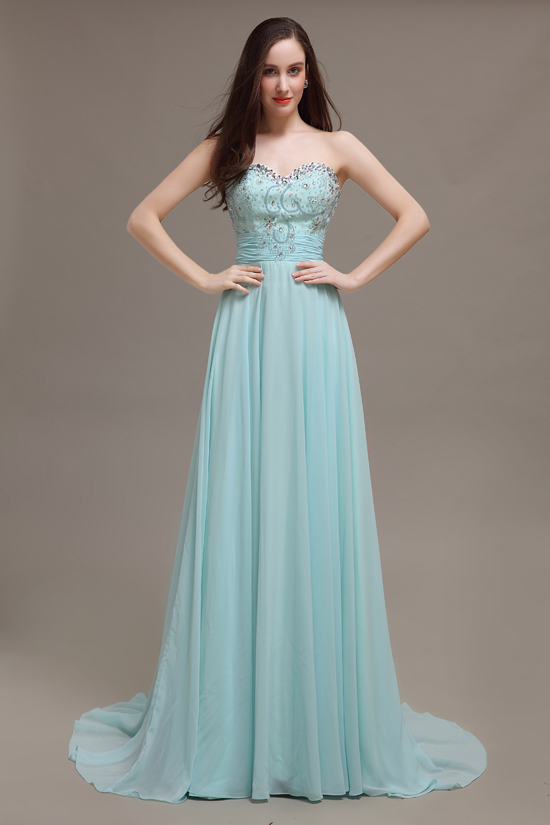 Beautiful blue A line crystal cheap elegant prom gown evening dress ...