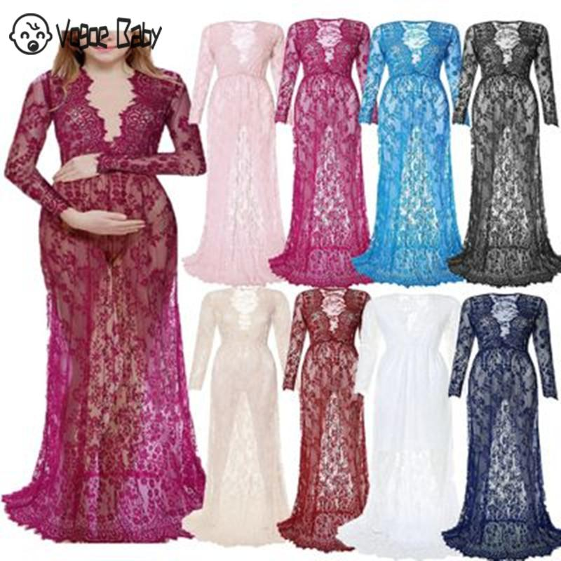 Maxi Maternity Gown Lace Maternity Dress Fancy Shooting Photo Summer Pregnant Dress Plus title=