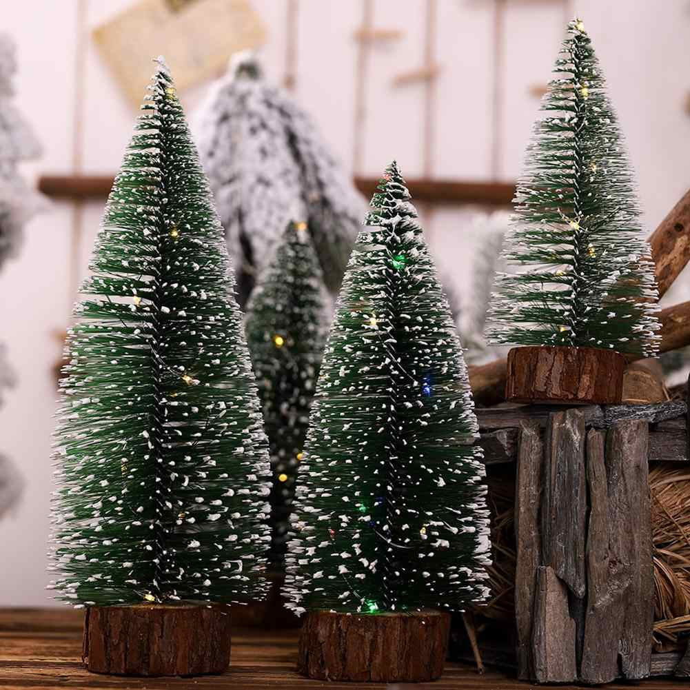 Mini LED Lights Pine Trees Plastic Christmas Decoration Tabletop Ornaments Trees for DIY Room Decor Home