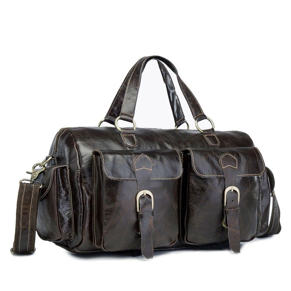 Mens Original Leather Heavy Dudy Designer Travel Briefcase Fashion Portfolio Organizer Tote Laptop Shoulder Messenger Bag 1097-c