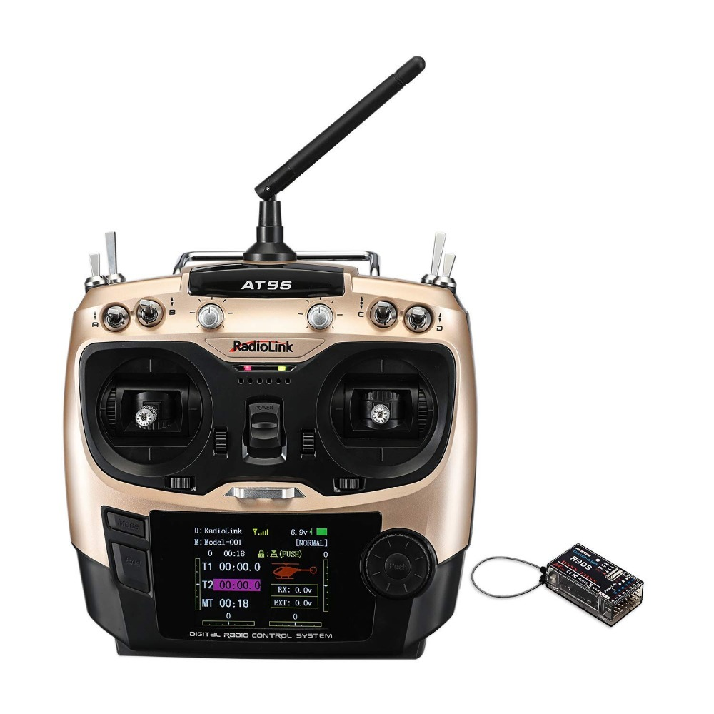 Radiolink AT9S R9DS Radio Remote Control System DSSS FHSS 2.4G 10CH Transmitter Receiver for RC Helicopter/RC BOAT 1pc radiolink rc3s 4ch 2 4g digital radio control system gun transmitter r4eh receiver lcd programable for rc car boat wholesale