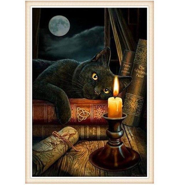 Katze aussieht zu candlelight will lesen Handkreuzstich kits DMC ...