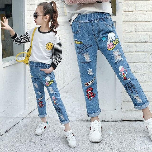 7ac2d1d62a Teenage Girls Jeans 2018 Spring Summer Children Broken Hole Pants Kids  Denim Trousers Cartoon 8 10 12 14 Years Old