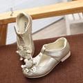 Детская Обувь 2017 Весна/Осень Девушки Белые Туфли С Цветами Дети Ребенок Принцесса Обувь Одного Мода Кожа Девушки обувь