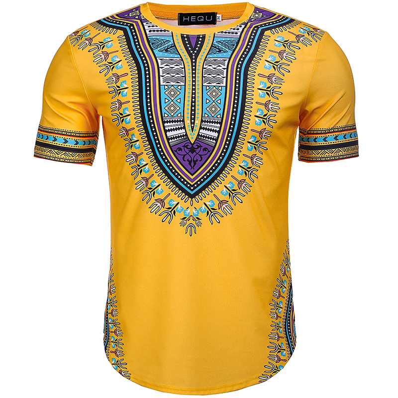 2018 Summer African Print Men Dashiki Tee Shirt Round Neck Yellow Colorful Short Sleeve pullover  Festival Outfit For  Men
