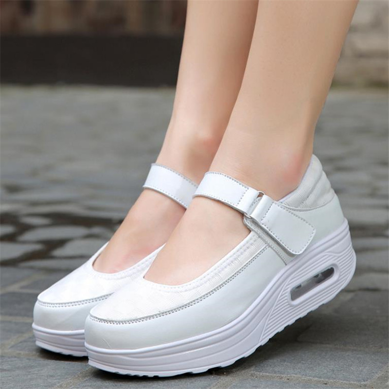 2019 New Women Mesh Breathable Shoes Female Thick Shoes Casual Comfort Low Heels  Loafers Nurse Shoes Women S016