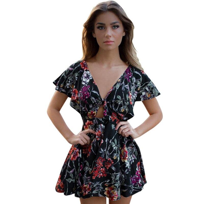 snowshine YLI Women Lady Floral V Neck Short Sleeve Mini Dress Summer Beach free shipping