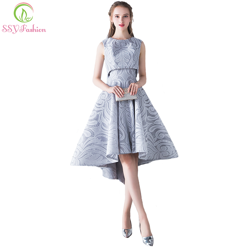 SSYFashion New Simple Elegant Evening Dress Bride Grey Lace Two Pieces High low Sleeveless Formal Party