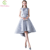 SSYFashion 2017 New Simple Elegant Evening Dress Bride Grey Lace Two Pieces High/low Sleeveless Formal Party Gown Robe De Soiree