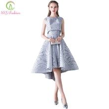 SSYFashion Nieuwe Eenvoudige Elegante Avondjurk Bruid Grey Lace Twee Stukken Hoge/lage Mouwloze Formele Party Gown Robe De soiree