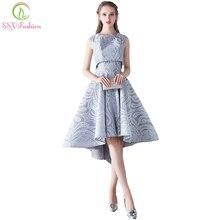 Ssyfashion vestido de noiva simples, cinza renda, duas peças, alto/baixo, sem manga, formal de festa soiree