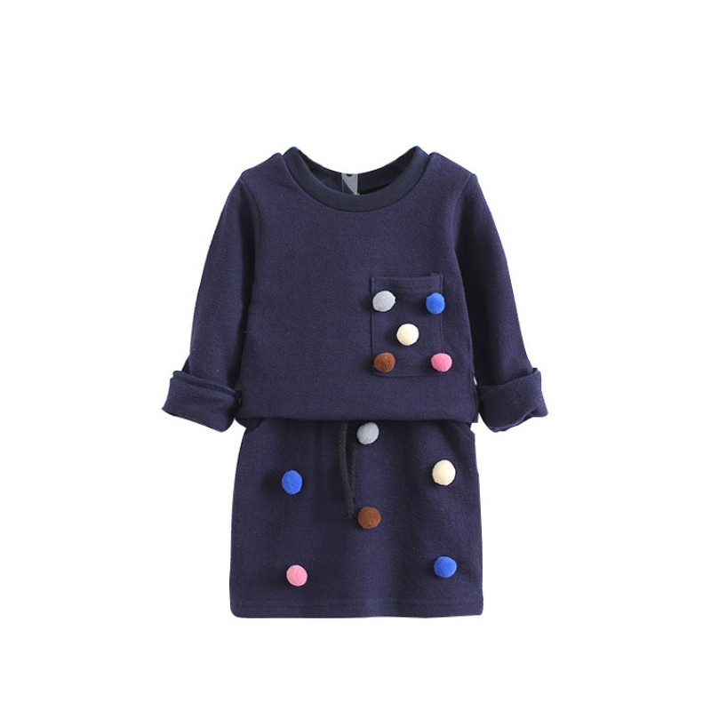 Winter Girls Fashion Long Sleeve Sweater With Ball  + Skirt Set Blue Pink Color Clothing Set For Children Clothes Kids