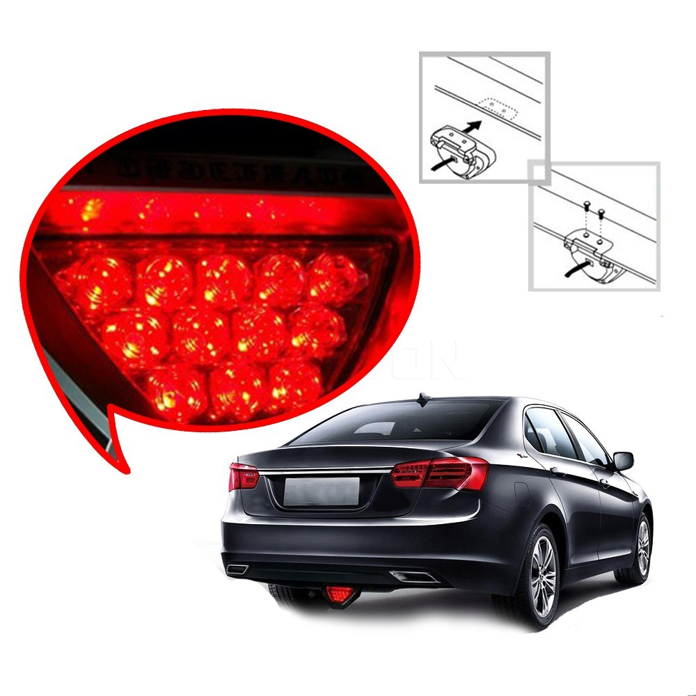 Universal Motorcycle Tail Stop Driving Light Moto Brake lamp Motorbike auxiliary triangle led Rear fog lights Car Accessories 16