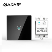 QIACHIP 1Gang EU Standard Smart Switch Remote Control Touch Wall Light Touch Switch 170 240V Surface