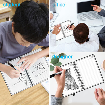 NEWYES A6 size Smart Reusable Erasable Notebook Microwave Wave Cloud Erase Notepad Note Pad Lined With Pen save paper 1