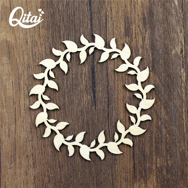 QITAI 12 Pieces / lot Жаңа гүлдер Wreath Wooden Veneer Shape Wooden Flourish Scrapbooking Embellishment қолөнер өнімдері WF025